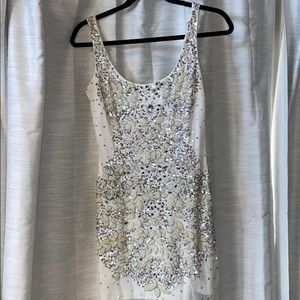 Adrianna Papell white sequins dress